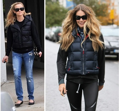 Reese Witherspoon Elle Macpherson puffer vest