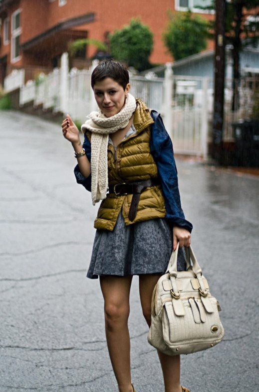 Karla from Karla's Closet works a fashionable puffer vest outfit