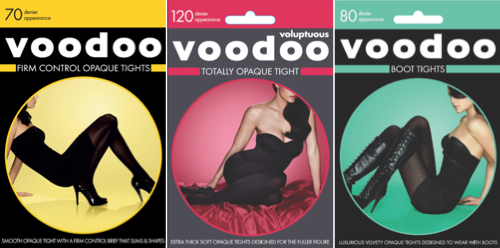 "Voodoo's collection offers a solution to all your ""tights"" needs. From left, Firm Control Opaque tights; Voluptuous Totally Opaque Tight; and Boot Tights. Stockists: 1800 810 449"