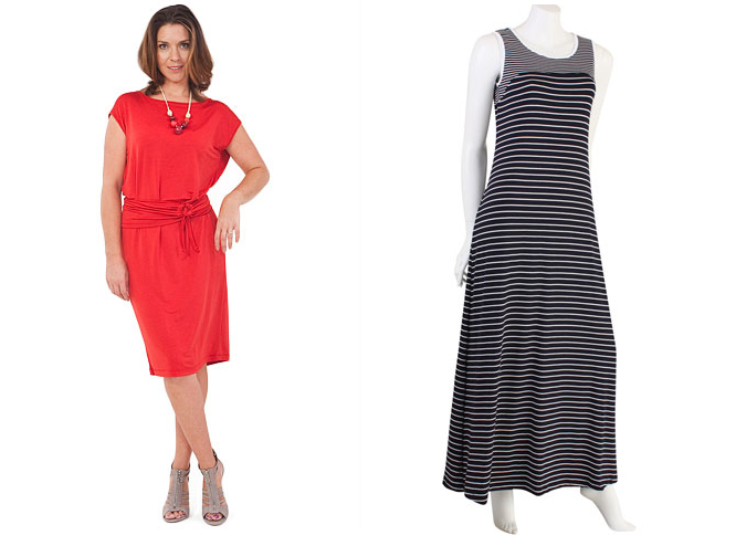 Left: Verily Shift dress $140 | Right: Verily striped maxi dress $149