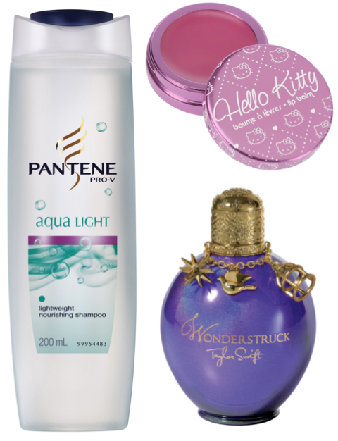 Pantene Aqua Light, Hello Kitty Lip Balm, Wonderstruck by Taylor Swift
