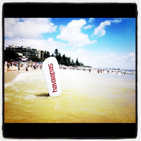 Havaianas thong challenge Australia Day Mooloolaba Beach