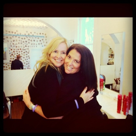 Me and one of my blogging besties, Mrs Woog, after a Barney Martin blow dry 