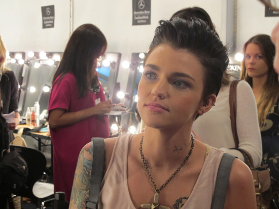 Maybelline NY ambassador Ruby Rose backstage before the Lisa Maree show at Mercedes-Benz Fashion Week Australia