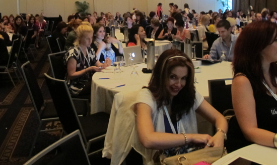 A room full of bloggers and I get the gorgeous Nathalie Brown (Easy Peasy Kids) as my table buddy