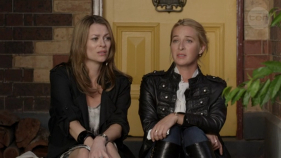 Offspring: Billie Proudman and Nina Proudman in military leather jacket