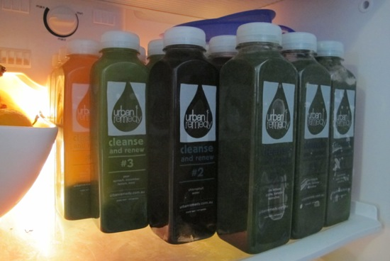 I took over the fridge with my three days of Urban Remedy juices
