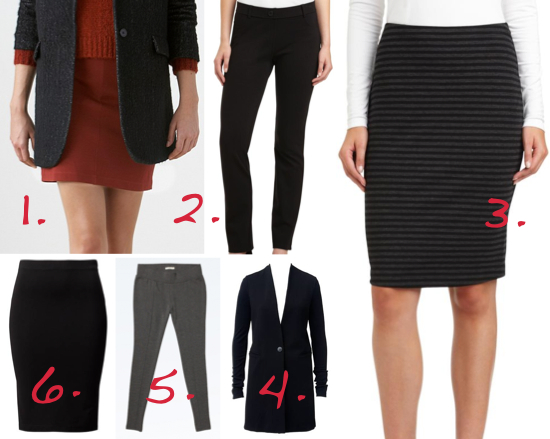 ponte pants, skirts and jacket