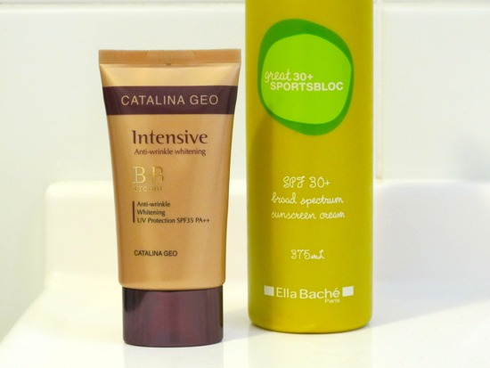 My sun protection essentials: Catalina Geo BB Cream SPF 35+ for my face every day and Ella Bache Great Sportsbloc 30+ for the beach