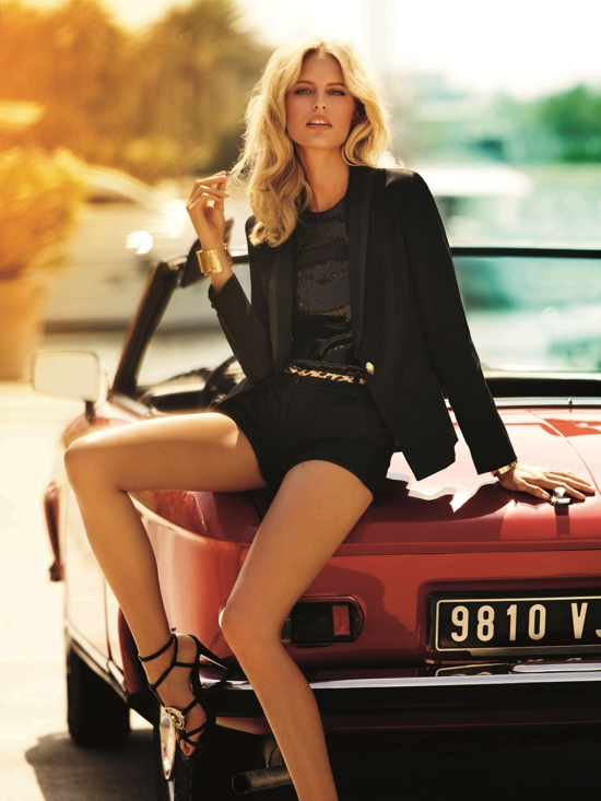 Roberto Cavalli for Target jacket $99; sequin halter $69; tuxedo shorts $59; sandals $79