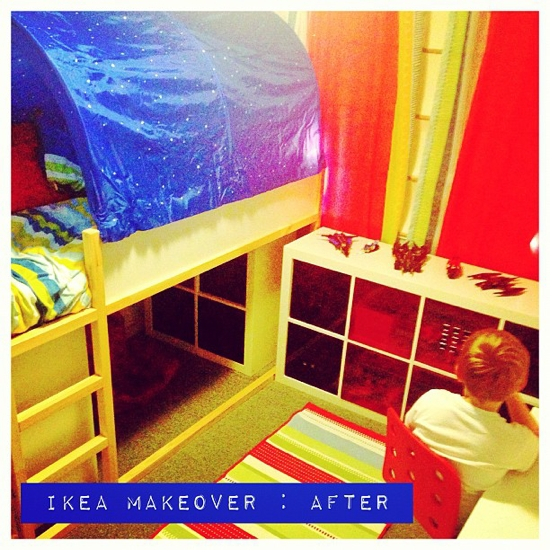 And after: new Kura tent bed, Expedit shelves underneath and to the side. New desk (toddler desk now with Veggie Baby 1), chair and rug. Lego contained and under control.