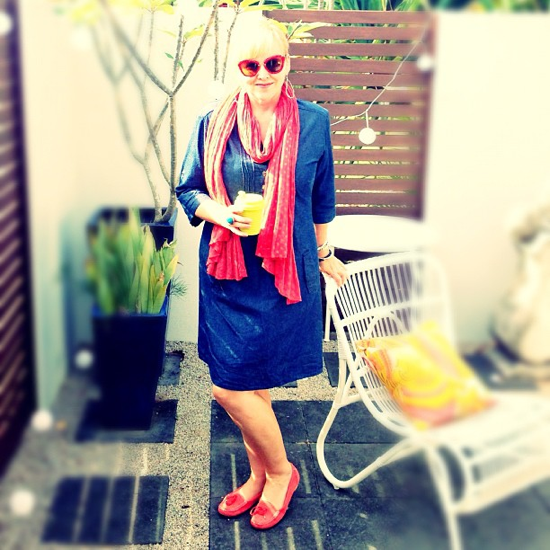 Boomshankar dress | Seed scarf | Rockport loafers