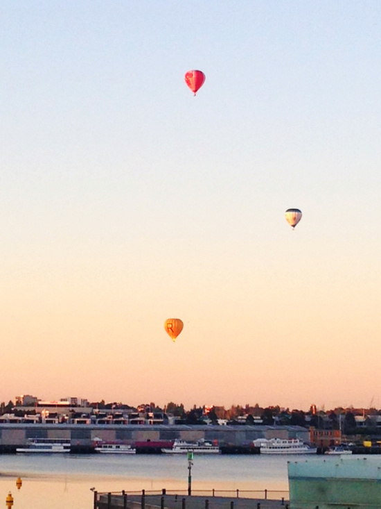 Hot Air balloons - sunrise over Melbourne Docklands