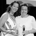 Carly Findlay, right, with Layne Beachley at the Aim for the Stars ball in 2012