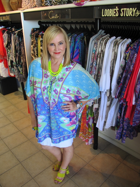 The TV shoot outfit | Camilla kaftan | neon | chartreuse