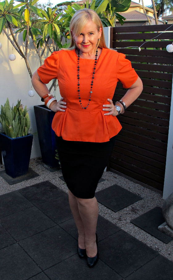 Christine Kardashian peplum top | Sussan skirt | Ruby Olive bangles | Lydia Jewels necklace | Country Road pumps