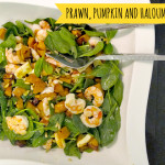 Prawn, pumpkin and haloumi salad
