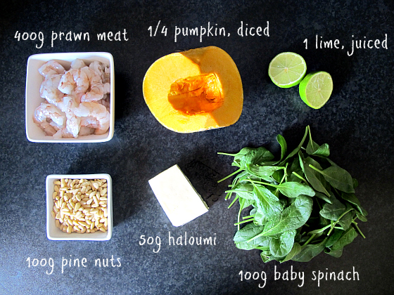 Prawn, pumpkin and haloumi salad ingredients