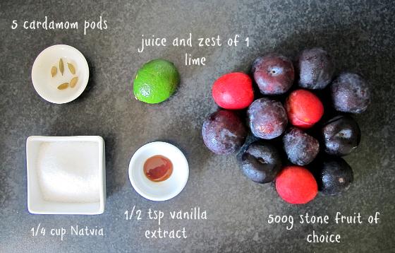 Roasted stone fruit ingredients