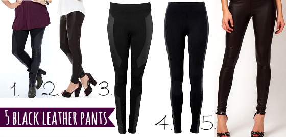 5 black leather pants