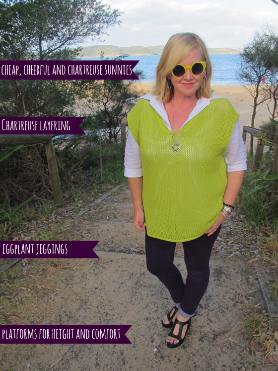 Chartreuse layering and NYDJ jeggings