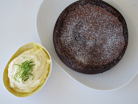 Nigella Lawson's flourless lime chocolate cake with cointreau, tequila and lime cream
