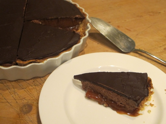 1973 dinner party | Chocolate mousse caramel tart | catered by Allconsuming Food