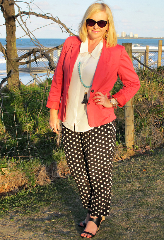 The Model and Me | Sportscraft polka dot pants; Sportscraft silk mix top; Red Phoenix Emporium necklace | Sussan blazer | Zoe Kratzmann wedges | Alex Perry for Specsavers sunglasses