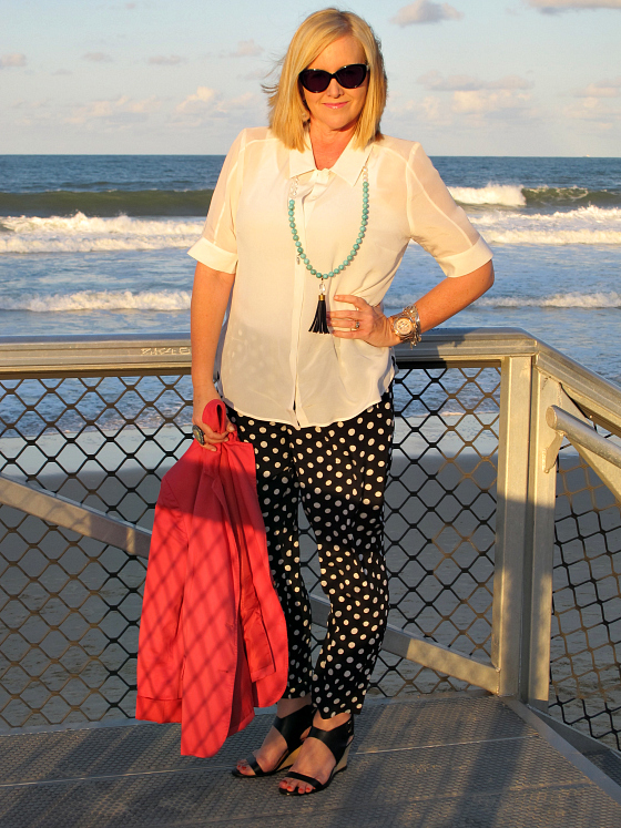 The Model and Me | Sportscraft polka dot pants; Sportscraft silk mix top; Red Phoenix Emporium necklace | Sussan blazer | Zoe Kratzmann wedges | Alex Perry for Specsavers sunglasses