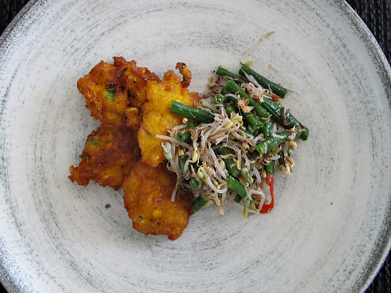Balinese corn fritters and coconut bean salad