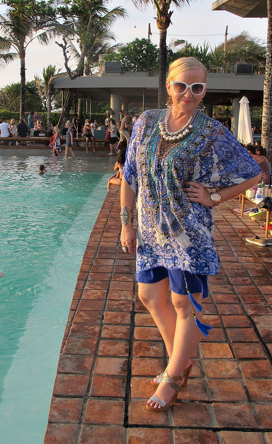Camilla kaftan (worn over Sacha Drake slip) | Salita Matthews necklace | Stuart Weitzman wedges | Prada sunglasses | Samantha Wills ring and cuff | Michael Kors watch | Sophie Kyron earrings