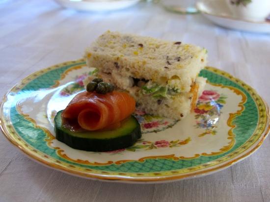Gluten-free high tea: chicken sandwiches; cucumber and salmon rounds