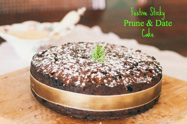 festive sticky prune and date cake