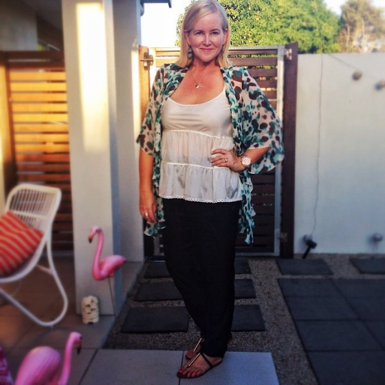 Madeleine Charles cami and kimono | Mela Purdie pants | Urge Sandals | Samantha Wills earrings | Uberkate rings