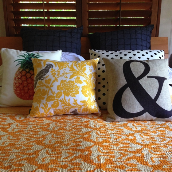 Cushionoply cushion, I love linen kantha quilt