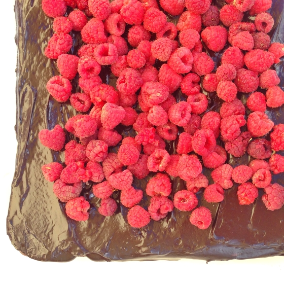 Flourless raspberry dark chocolate cake