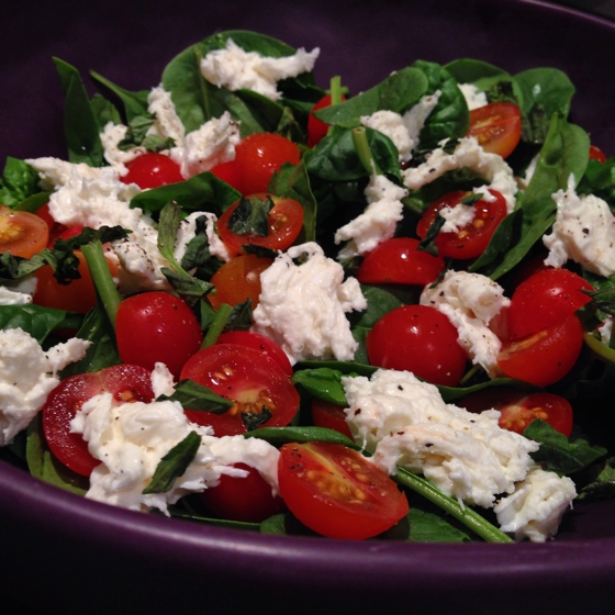 buffalo mozzarella, cherry tomatoes, basil and baby spinach
