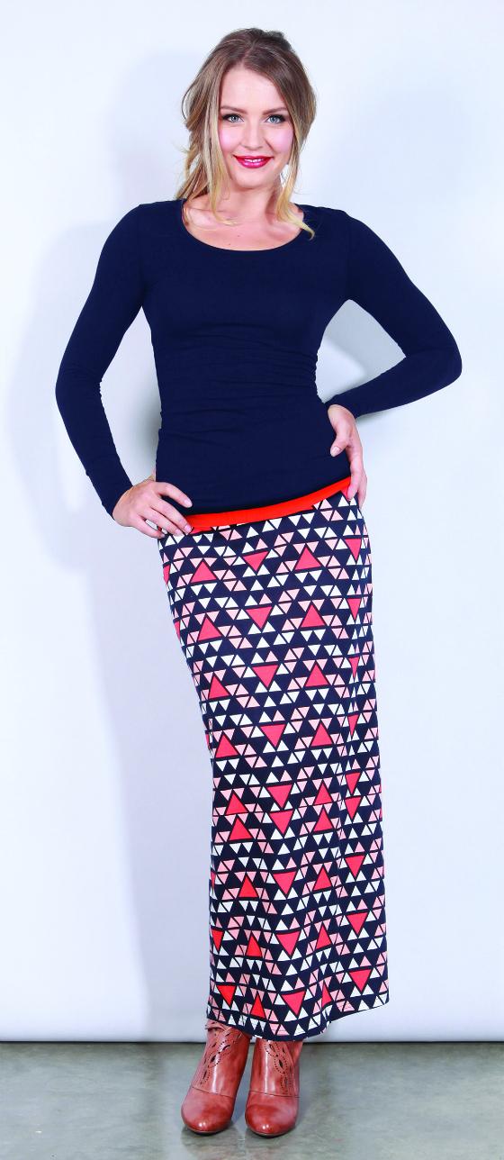 Boom Shankar blue triangle maxi skirt and