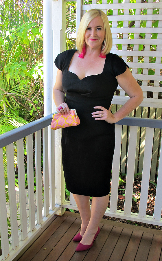 Sacha Drake Hendricks dress | Red Phoenix Emporium earrings | Dinosaur Designs ring | Misano pumps | Alexius Designs clutch