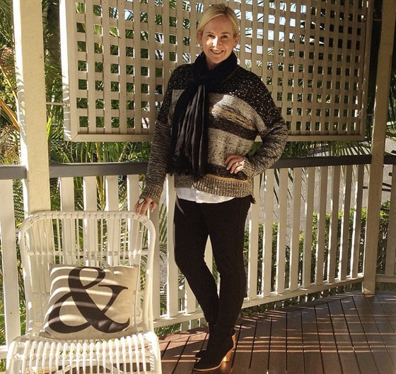 Country Road knit and scarf  Witchery tee Mela Purdie ponte pants Zoe Kratzmann boots Samantha Wills ring