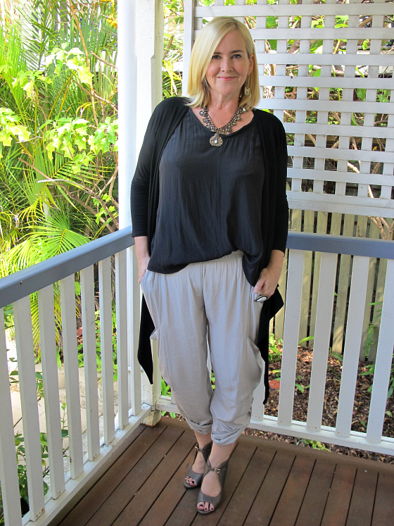 Mela Purdie soft cargo pant,  cruise top, transit wrap | Zoe Kratzmann wedges | Samantha Wills necklace ring and earrings