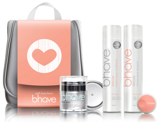 bhave Mothers Day Gift Pack - Rescue Shampoo & Conditioner & Fresh Ends With Free Hanging Cosmetic Bag