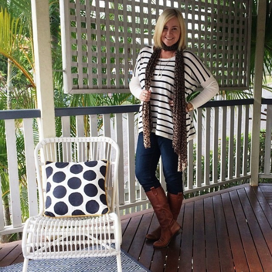 Blue Bungalow top | Seed scarf | NYDJ jeans | Country Road boots | Nicole Fendell necklace | Uberkate necklace