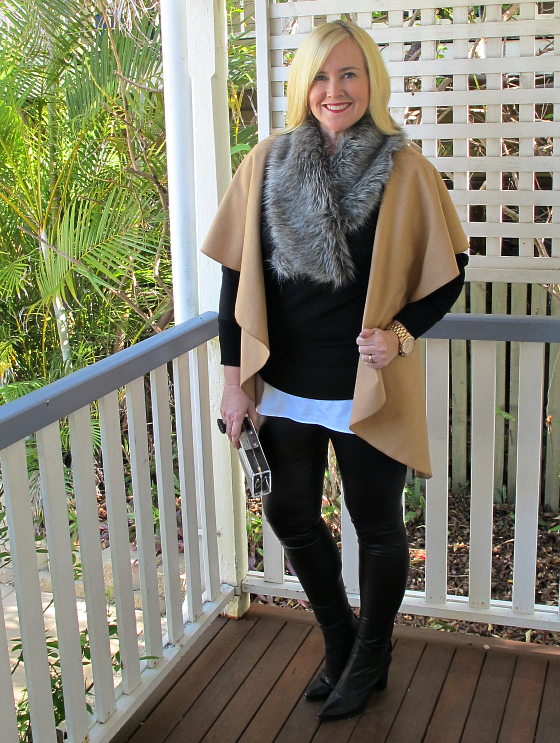 Surafina leggings, cape, tank, knit and faux fur collar | Dinosaur Designs ring | Mnologie clutch | Zoe Kratzmann boots