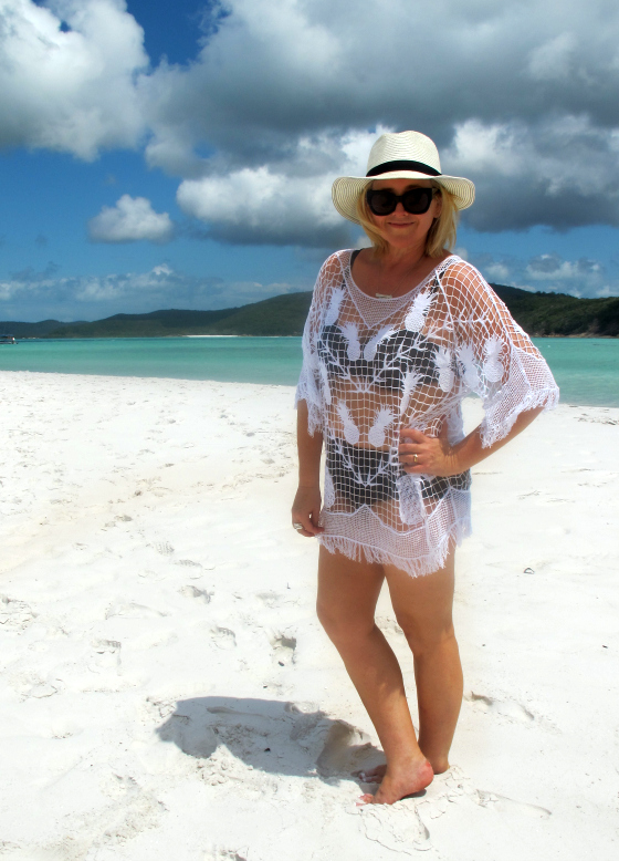 Robyn Lawley bikini | Seafolly kaftan | Blue Illusion hat | Karen Walker sunnies