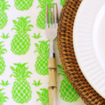 FEATURED Brown Trading Co pineapples table cloth lime green