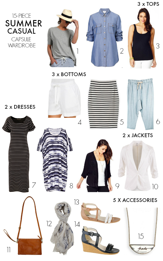 5-piece summer casual capsule wardrobe