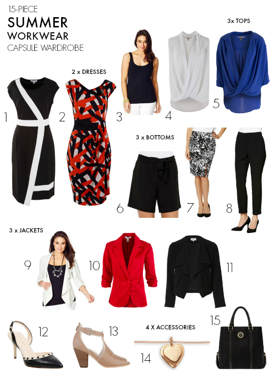 Just a few possible outfit combinations - How To Create A Summer Workwear Capsule Wardrobe - Styling You