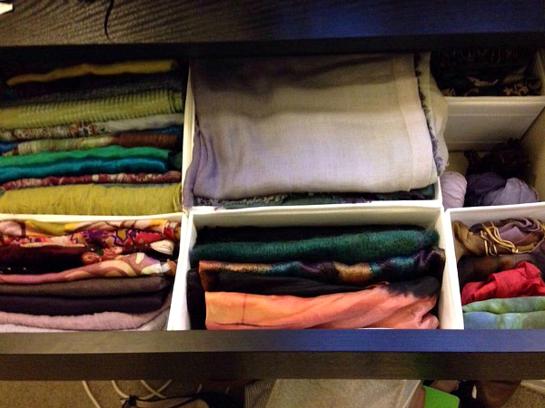 scarf storage | 12 tips for organising your wardrobe for stress-free daily dressing