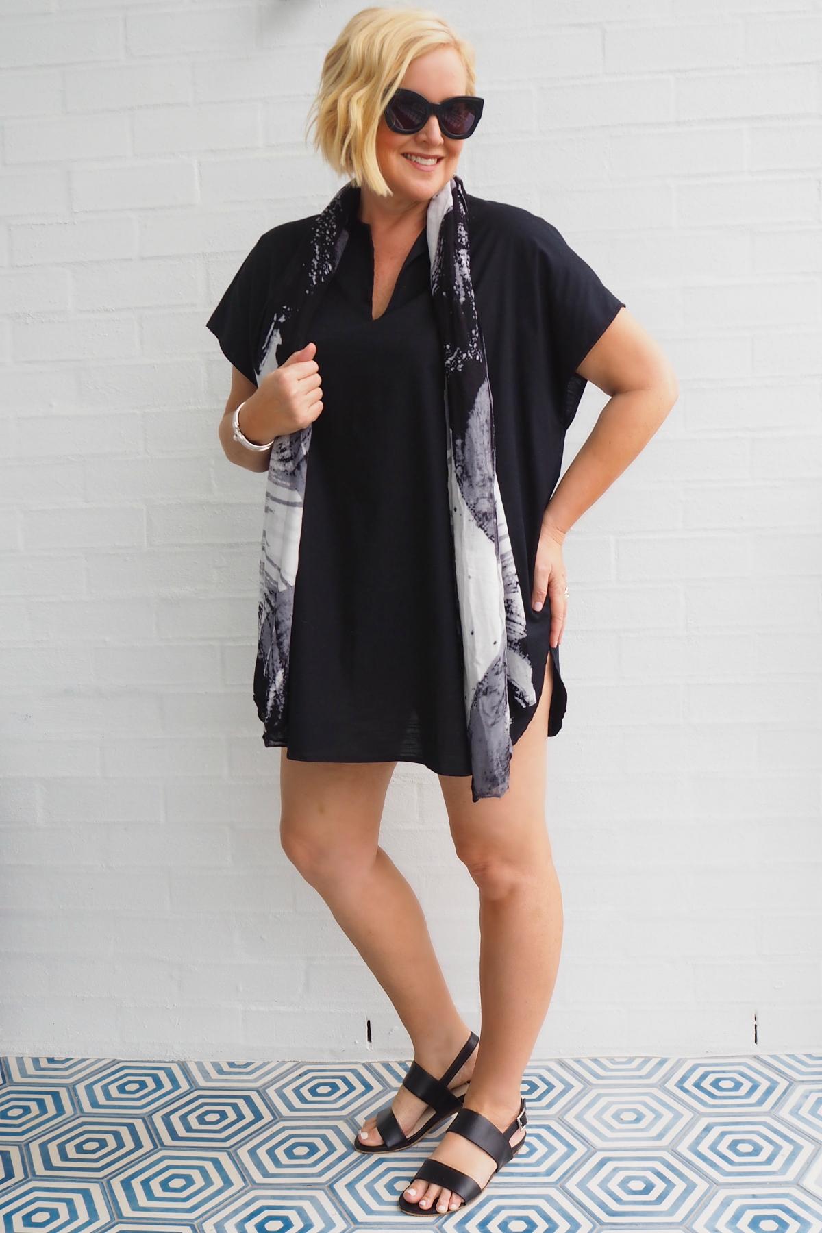 Bombshell Bay dress | Eb & Ive scarf | FRANKiE4 Footwear LiBBi sandals